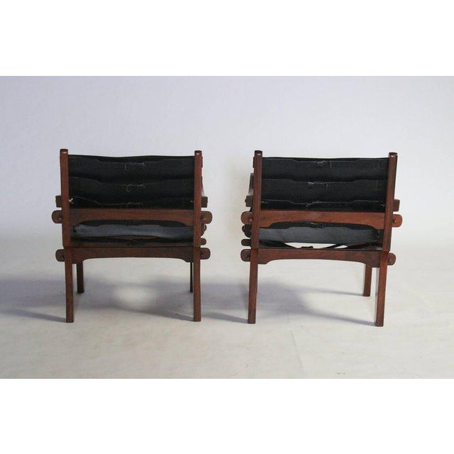 Mid-Century Modern Pair of Angel Pazmino Rosewood and Leather Sling Armchairs - a Pair For Sale - Image 3 of 10