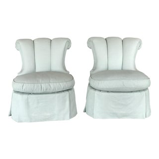 Modern Scalamandré Channel Back Slipper Chair -A Pair For Sale