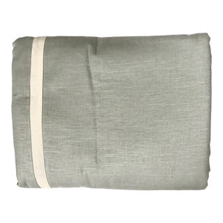 King Size Custom Linen Duvet in Aqua With Flange and Inset Ivory Border For Sale