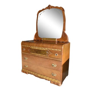 Antique Art Deco Waterfall Style Bedroom Dresser With Mirror For Sale