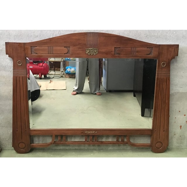 Antique Arts & Crafts Carved Oak and Bronze Mirror, Circa 1920 For Sale - Image 9 of 9