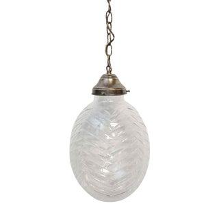 Large Egg Shaped Etched Crystal Pendant Light For Sale
