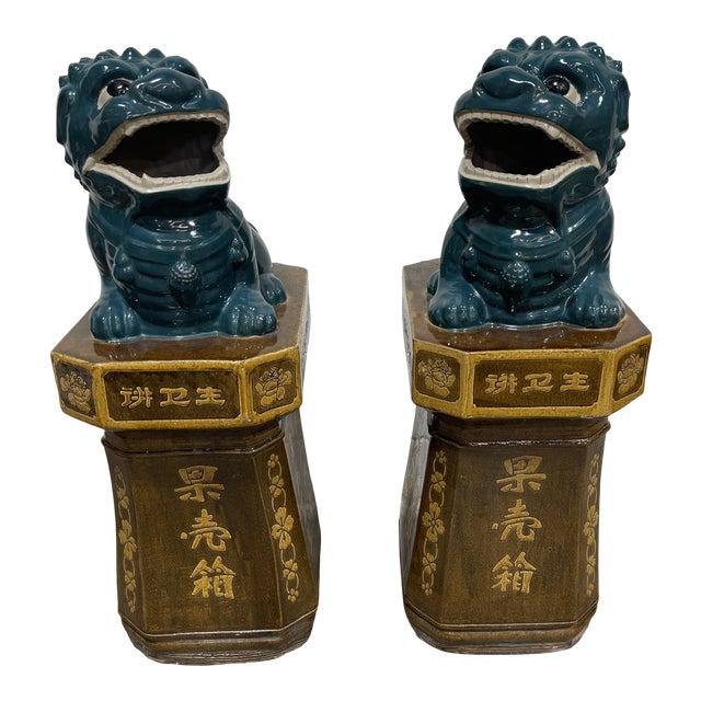 Monumental Glazed Terracotta Foo Dogs - a Pair For Sale