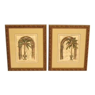 Decorative Framed & Matted Palm Prints - a Pair For Sale