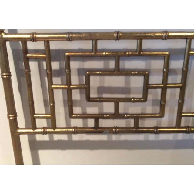 Vintage Hollywood Regency, Chinese Chippendale, faux bamboo, metal, gold gilt finish, king-size headboard bed. Wonderful...