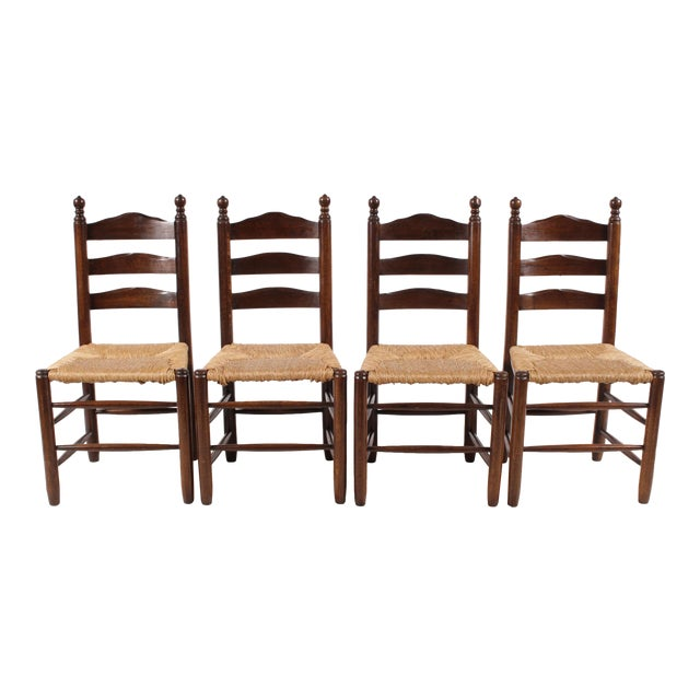 English Country Ladder Back Chairs - Set of 4 - Image 1 of 8