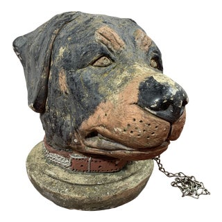 French Cast Stone Dog Post Finial For Sale