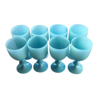 8 Portieux Vallerysthal French Blue Opaline Glass-6.5 Inch Wine-Water Goblets