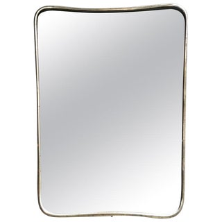 Small Italian Minimal Curvilinear Brass Mirror, 1950s For Sale