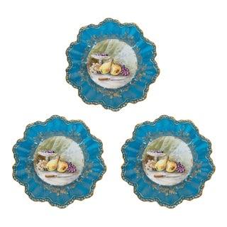 Elegant Set of 12 Belle Époque Hand-Painted Limoges Flambeau Dessert Service