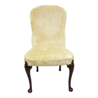 Southwood Queen Anne Style Mahogany Upholstered Dining Chair With Cabriole Legs For Sale