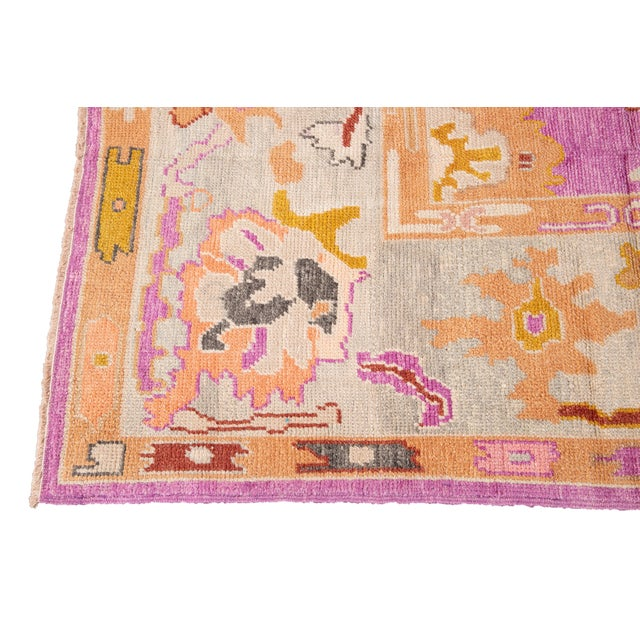 Textile 21st Century Contemporary Modern Oushak Wool Rug For Sale - Image 7 of 13