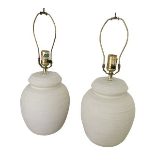 Modern Textured Plaster Lamps - A Pair For Sale