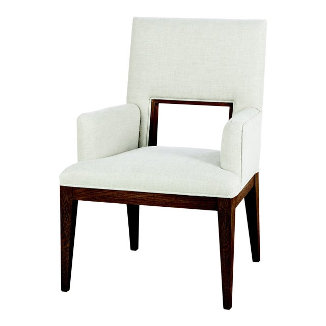 Century Furniture Casa Bella Upholstered Dining Arm Chair - Sierra Finish For Sale
