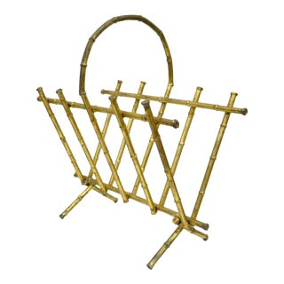 Vintage Italian Hollywood Regency Gold Gilt Faux Bamboo Magazine Rack For Sale