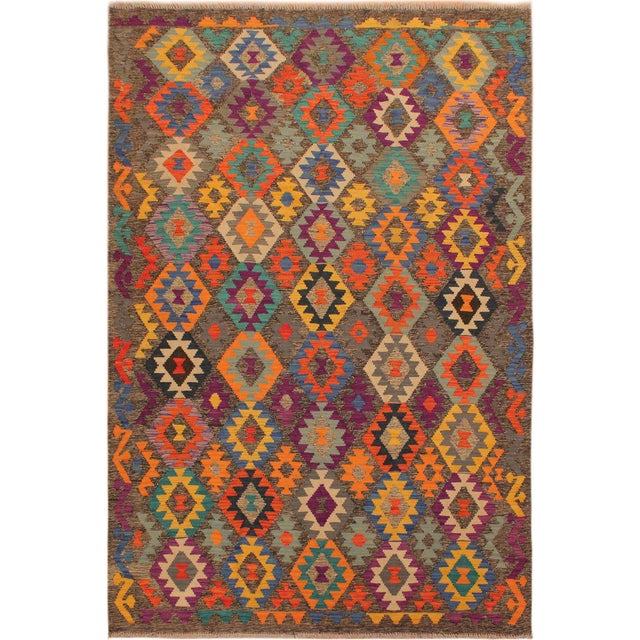 Blue Mary Gray/Blue Hand-Woven Kilim Wool Rug -5'10 X 8'4 For Sale - Image 8 of 8