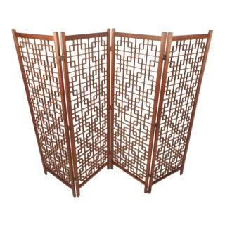 Mid-Century Modern Teak Four-Panel Lattice Folding Wall Divider For Sale