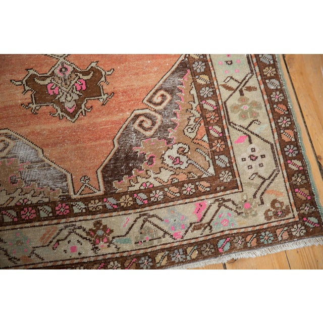 "Cotton Vintage Distressed Oushak Rug Runner - 3'5"" X 10'11"" For Sale - Image 7 of 13"