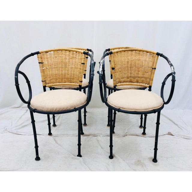 Brown Vintage Metal & Wicker Bistro Chairs For Sale - Image 8 of 13