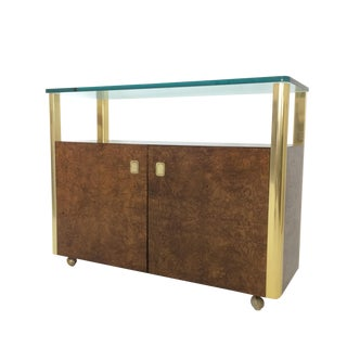 Burled Wood & Brass Console by Century Furniture Company For Sale