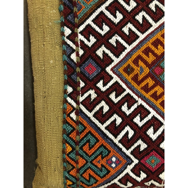 1930s Turkish Kilim Floor Cushion For Sale - Image 5 of 11