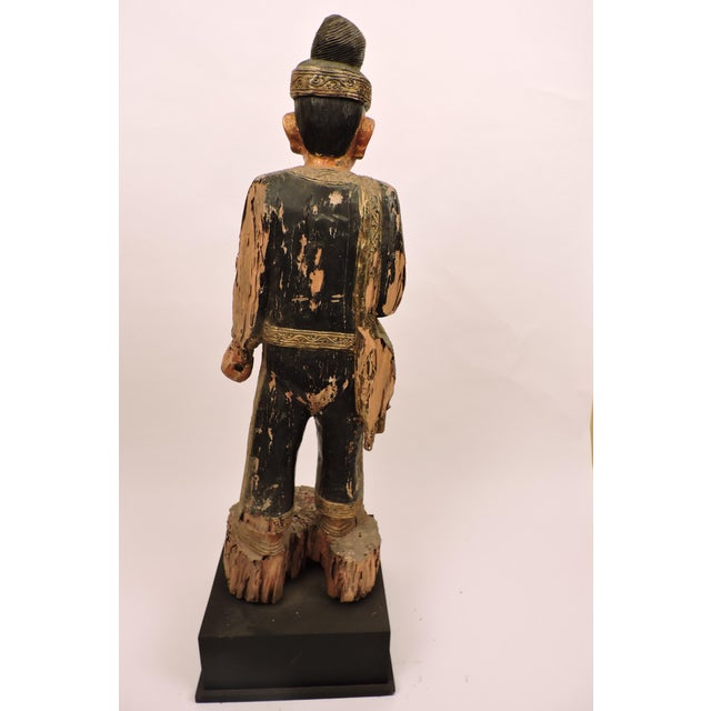 Mid 19th Century Burmese Male Nat Figure In Black and Gold For Sale - Image 5 of 6