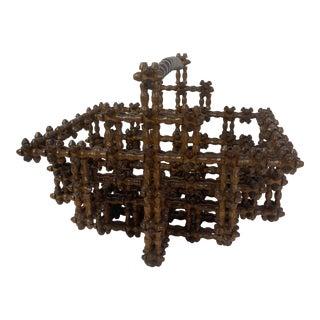 English Tramp Art Basket For Sale