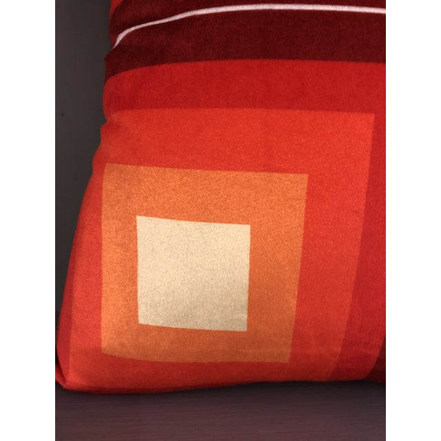 Textile Contemporary Handmade Orange Velvet Geometric Pillow For Sale - Image 7 of 8