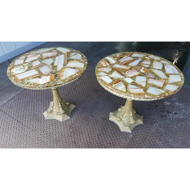 Arturo Pani Vintage Agate and Gold Side Tables - Unique Hollywood Regency Stone and Resin Pair of Tables! Pair of artistic...