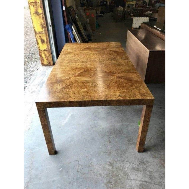 Milo Baughman for Directional Burl Wood Parsons Dining Table with Two Boards - Image 5 of 10