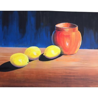 Original Lemon On A Table Acrylic Paint For Sale