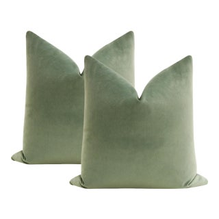 """22"""" Eucalyptus Contemporary Velvet Pillows - a Pair For Sale"""