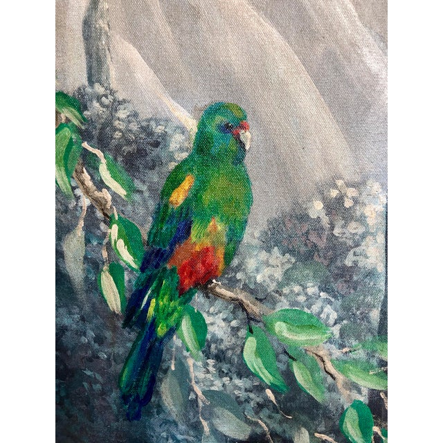 Green Italian Birds in the Forest Watercolor Painted Panels - Set of 2 For Sale - Image 8 of 13