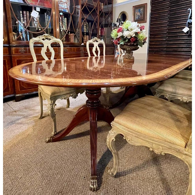 1940s Regency Style Triple Pedestal Dining Room Table Banded and Fully Refinished For Sale - Image 5 of 13