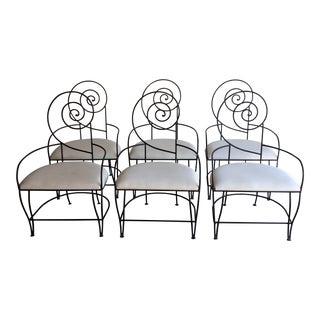 Modern Spiral Back Iron Dining Chairs- Set of 6 For Sale