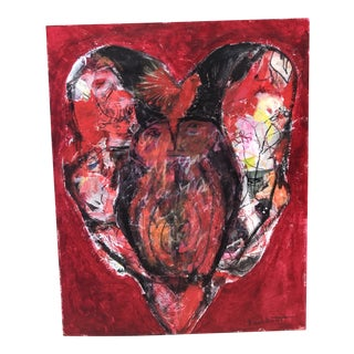 """Love Birds"" Mixed-Media Abstract by Ellen Reinkraut For Sale"