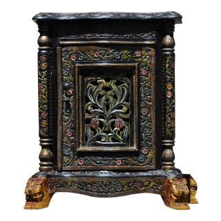 1990s Asian Antique Balinese Carved Polychrome Decorated Wood Side Table
