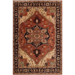 Southwestern Heriz Peshawar Anthony Rust/Blue Wool Rug - 9'1 X 11'7 For Sale