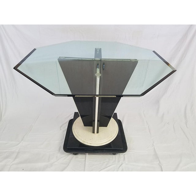 Glass Top Table with Granite & Marble Base - Image 7 of 8
