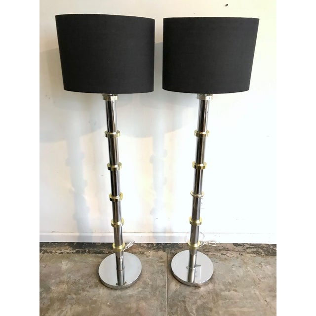 """1970's gold and chrome floor lamps. Custom made black linen shades 11"""" tall."""