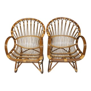 1980s Vintage Franco Albini Style Rattan Lounge Chairs- a Pair For Sale