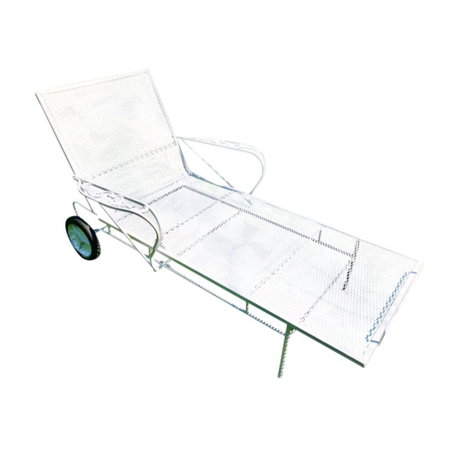 1960s Mid-Century Woodard White Chaise Lounge For Sale