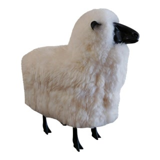 Bronze Sheep Sculpture With Natural Wool After Lalanne For Sale