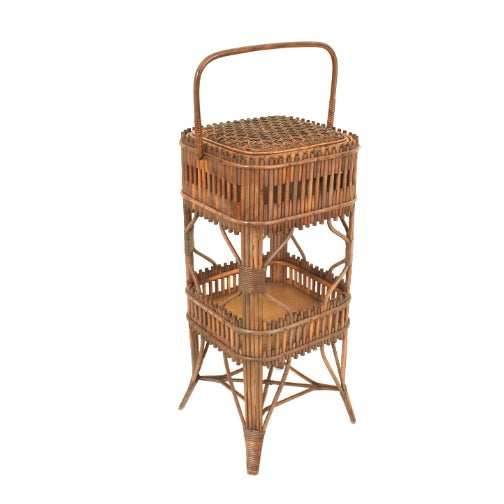 American Victorian natural stick wicker small square (sewing) end table with a flip top and lower shelf and handle...