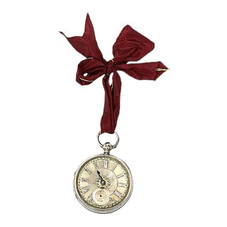 C. 1875 English Sterling Pocket Watch Ornament For Sale