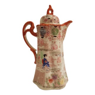 Japanese Canton Women, Flowers and Landscapes Chocolate or Coffee Pot For Sale