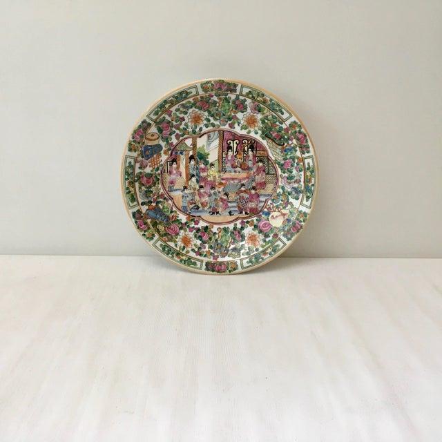 Asian Large Vintage Rose Medallion Bowl For Sale - Image 3 of 10