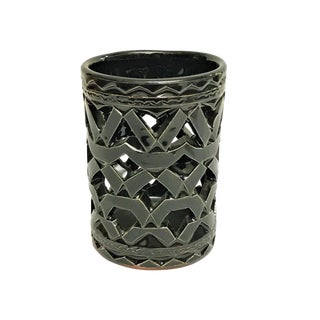 Moroccan Hand Painted Black Ceramic Tealight Holder For Sale