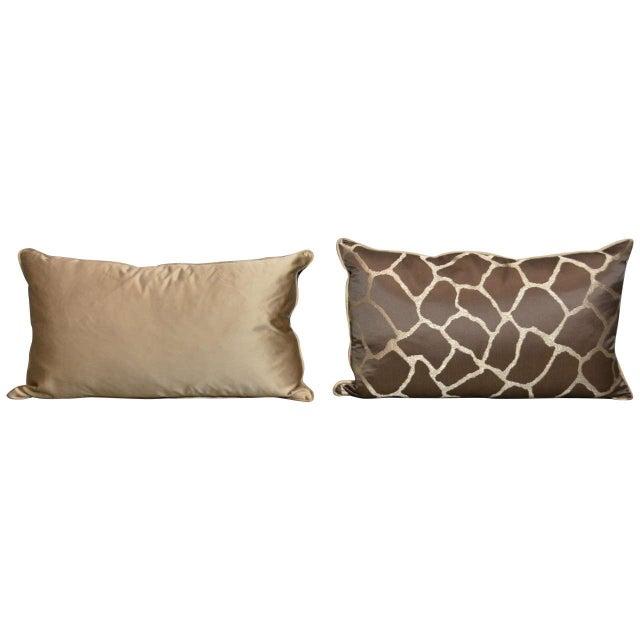 Scalamandre Brown Giraffe Print Pillows - A Pair - Image 1 of 5