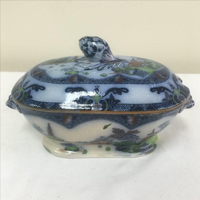 Spode Flow Blue & Polychrome Sauce Tureen - Image 2 of 9